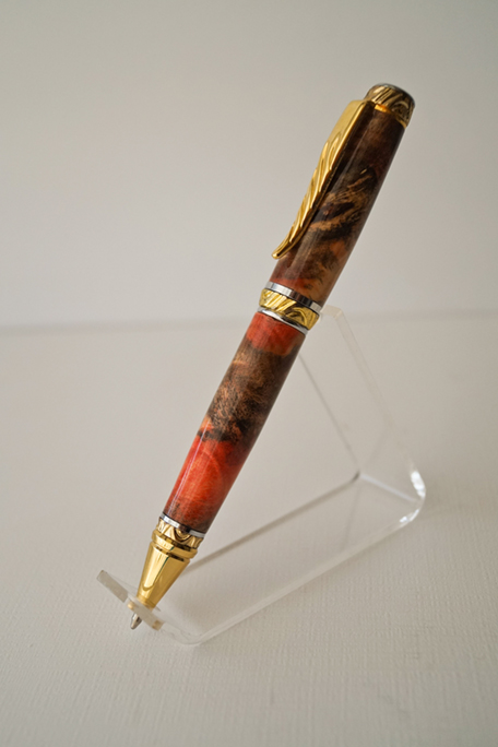 Ultra Cigar Pen - Red Dyed Buckeye Burl - Click Image to Close